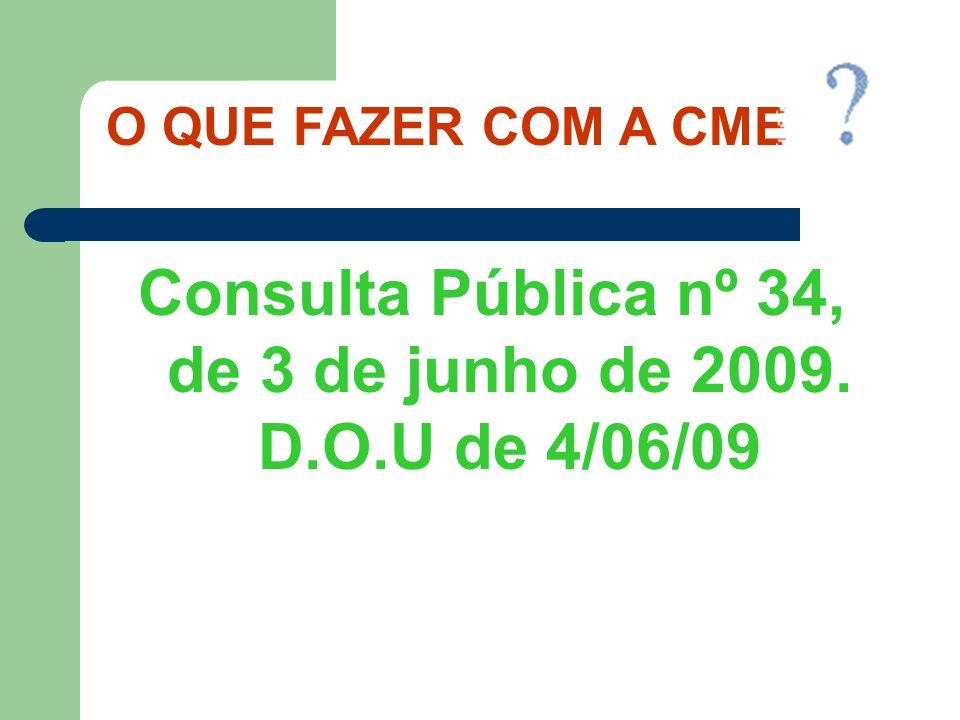 Consulta Pública nº 34, de 3 de junho de 2009. D.O.U de 4/06/09