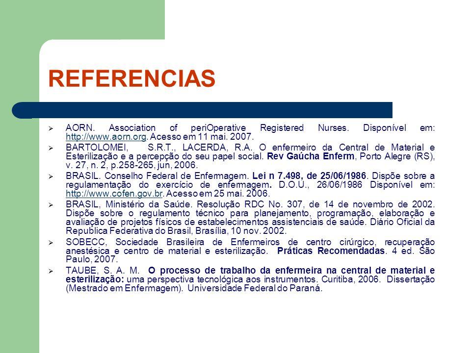 REFERENCIAS AORN. Association of periOperative Registered Nurses. Disponível em: http://www.aorn.org. Acesso em 11 mai. 2007.