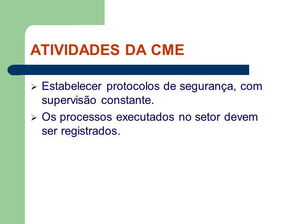 ATIVIDADES DA CME Estabelecer protocolos de segurança, com supervisão constante.