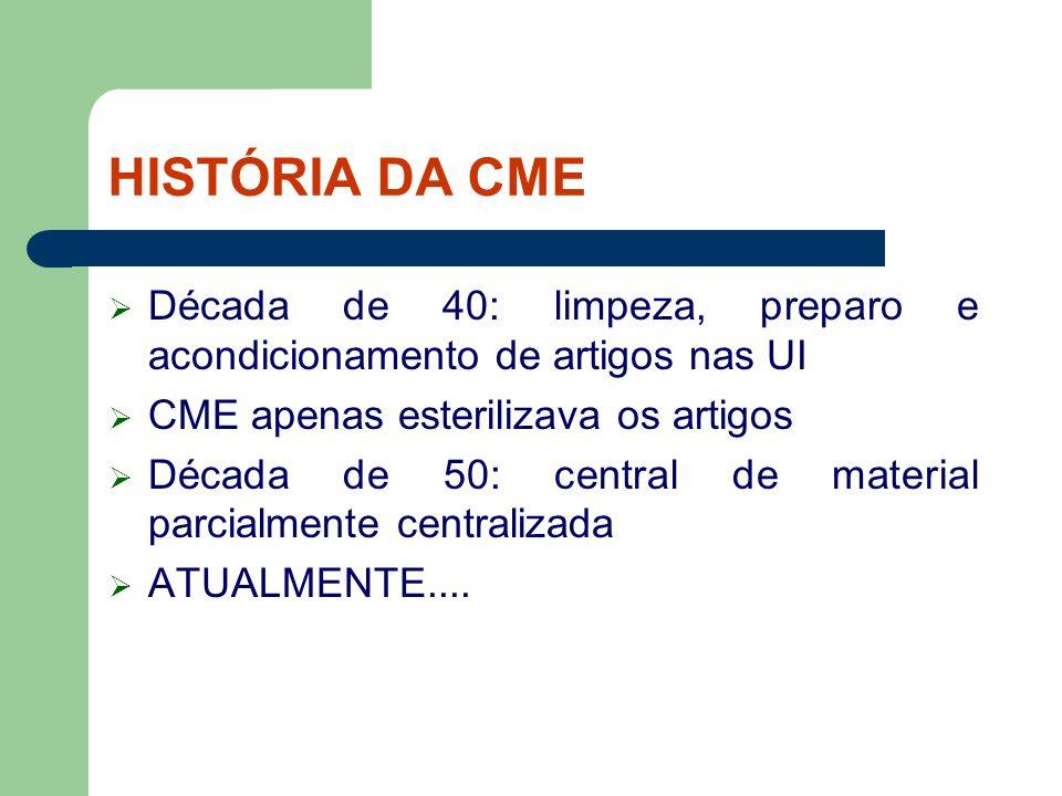 HISTÓRIA DA CME Década de 40: limpeza, preparo e acondicionamento de artigos nas UI. CME apenas esterilizava os artigos.