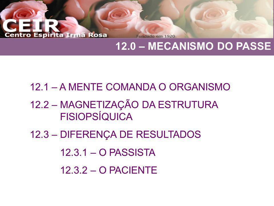 12.0 – MECANISMO DO PASSE 12.1 – A MENTE COMANDA O ORGANISMO