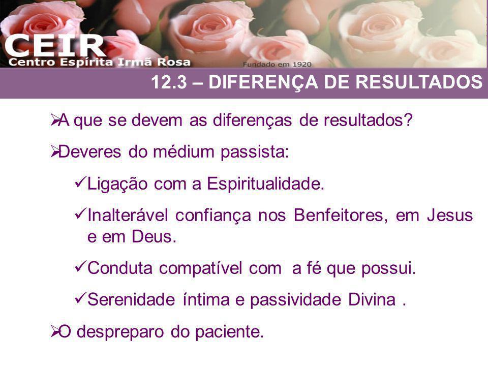 12.3 – DIFERENÇA DE RESULTADOS