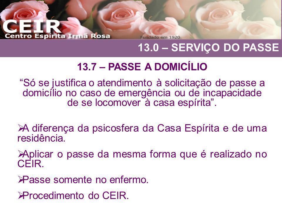 13.0 – SERVIÇO DO PASSE 13.7 – PASSE A DOMICÍLIO