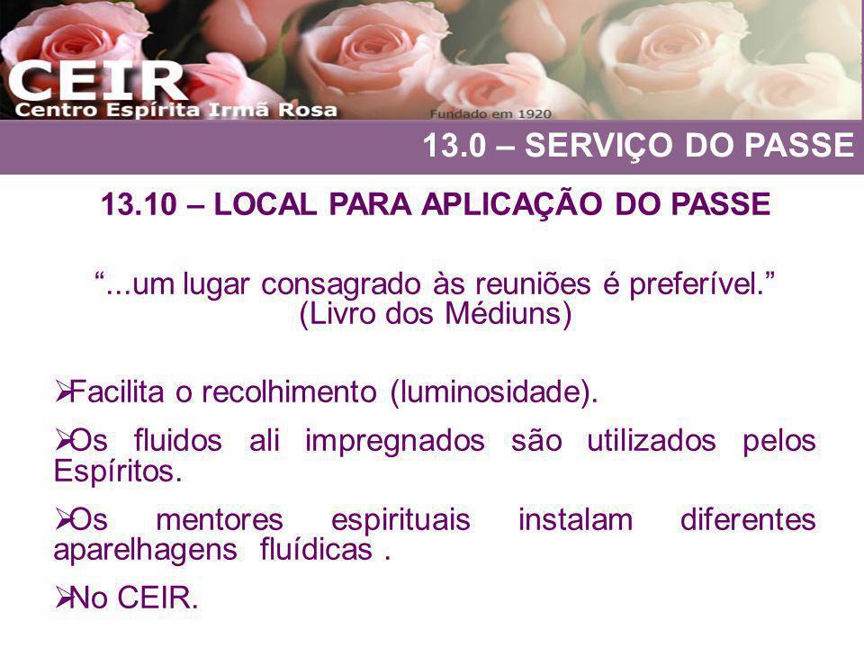 13.10 – LOCAL PARA APLICAÇÃO DO PASSE
