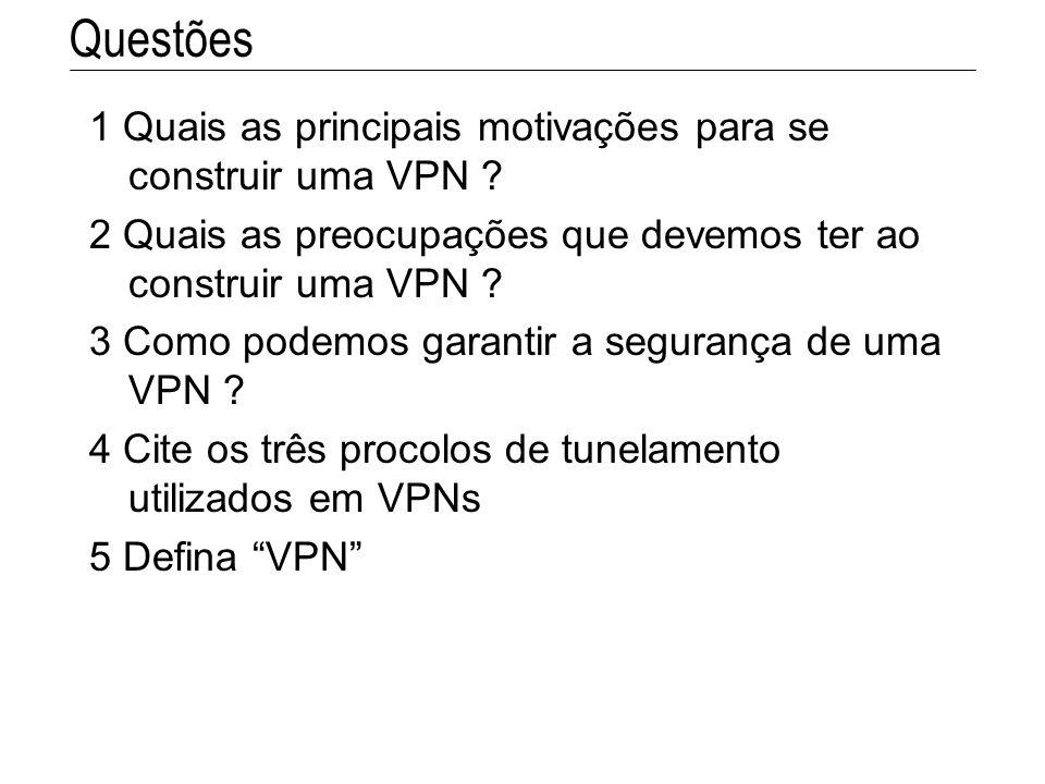 Questões 1 Quais as principais motivações para se construir uma VPN
