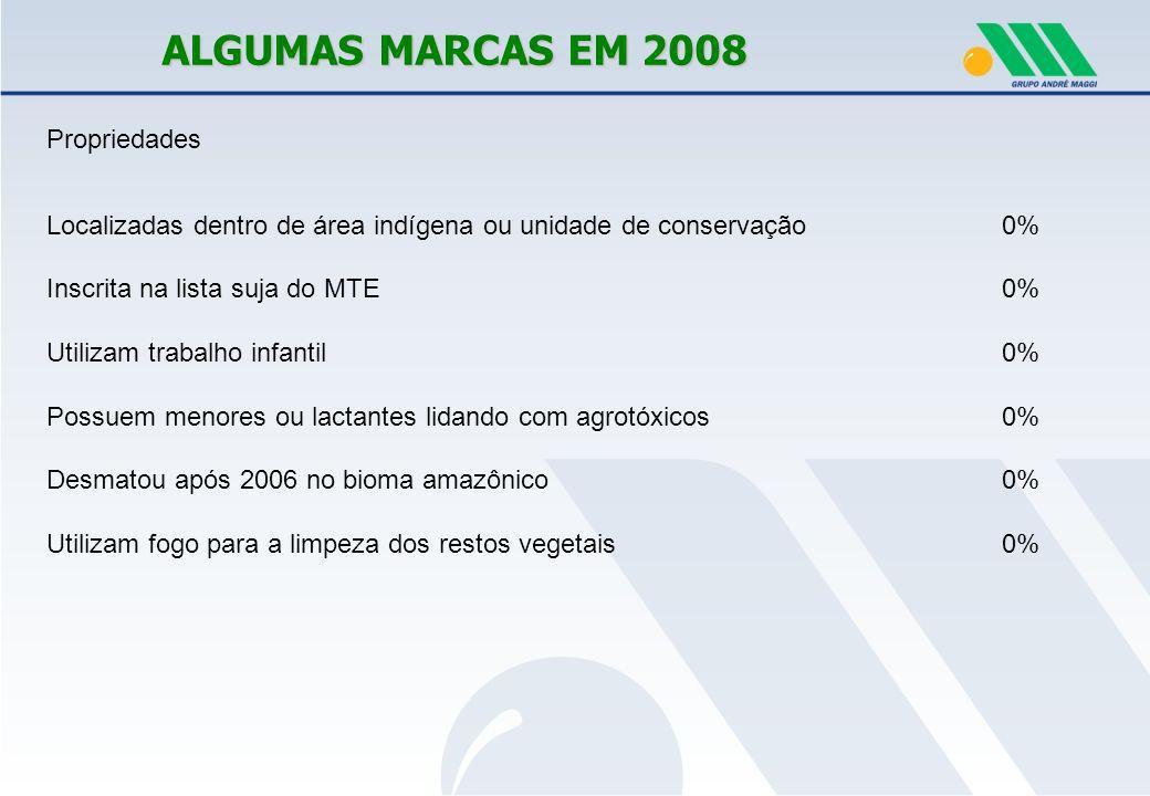ALGUMAS MARCAS EM 2008 Propriedades