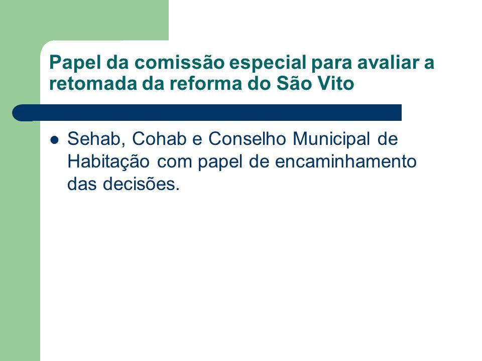 Papel da comissão especial para avaliar a retomada da reforma do São Vito