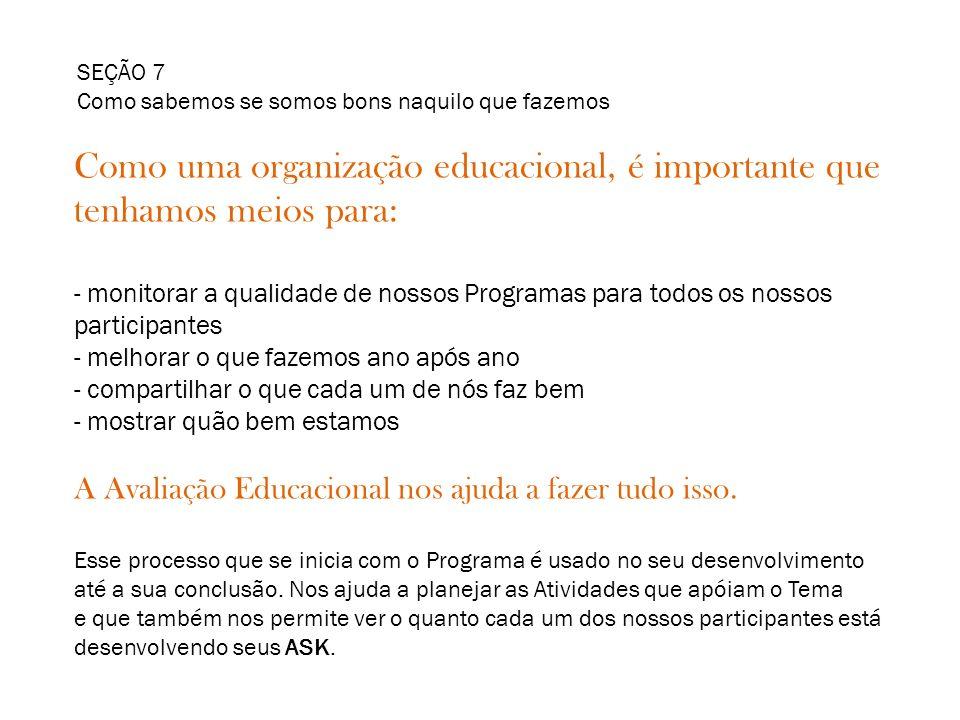 SEÇÃO 7 Como sabemos se somos bons naquilo que fazemos. Como uma organização educacional, é importante que tenhamos meios para: