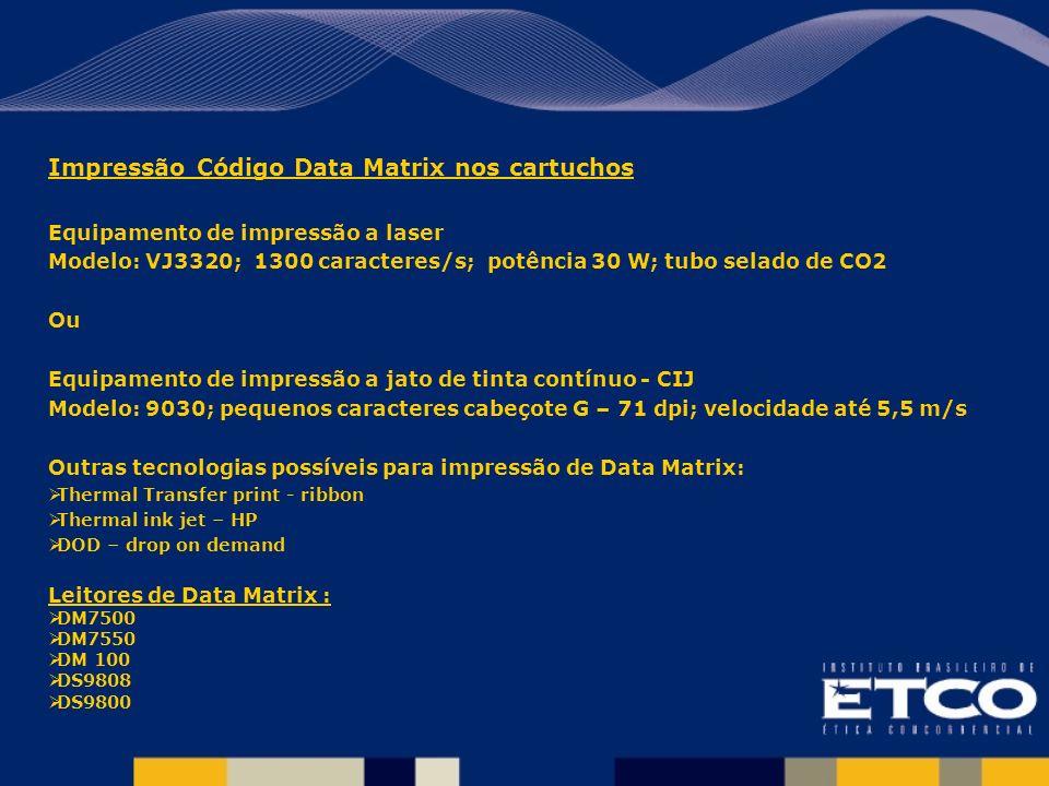 Impressão Código Data Matrix nos cartuchos