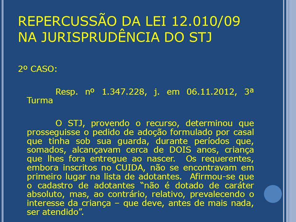 REPERCUSSÃO DA LEI 12.010/09 NA JURISPRUDÊNCIA DO STJ