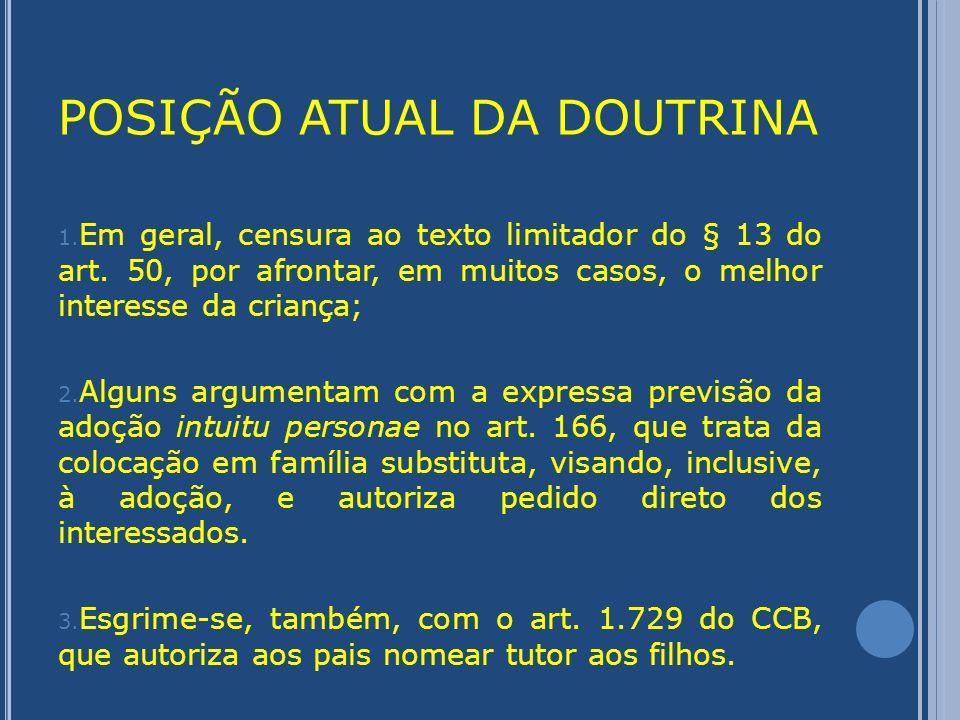 POSIÇÃO ATUAL DA DOUTRINA