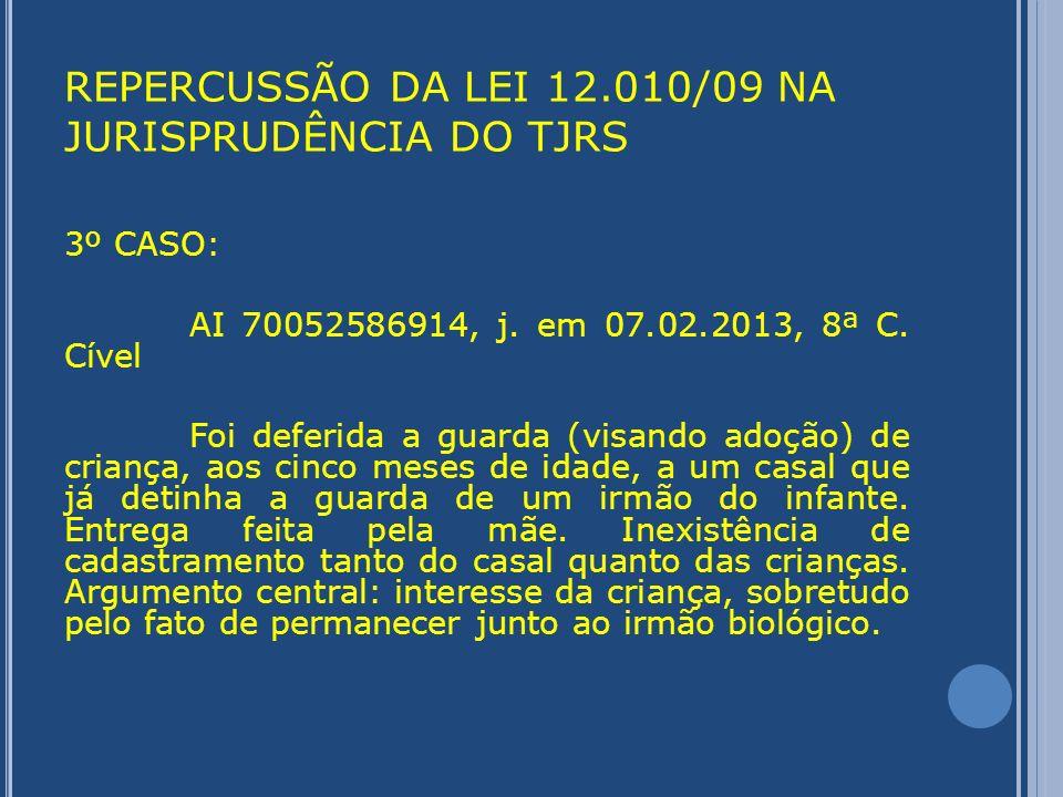 REPERCUSSÃO DA LEI 12.010/09 NA JURISPRUDÊNCIA DO TJRS