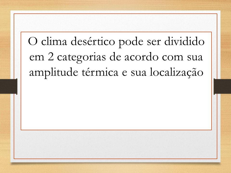 O clima desértico pode ser dividido em 2 categorias de acordo com sua amplitude térmica e sua localização