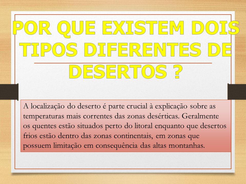 POR QUE EXISTEM DOIS TIPOS DIFERENTES DE DESERTOS