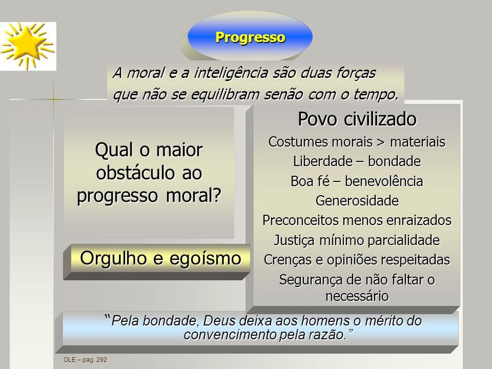 Qual o maior obstáculo ao progresso moral