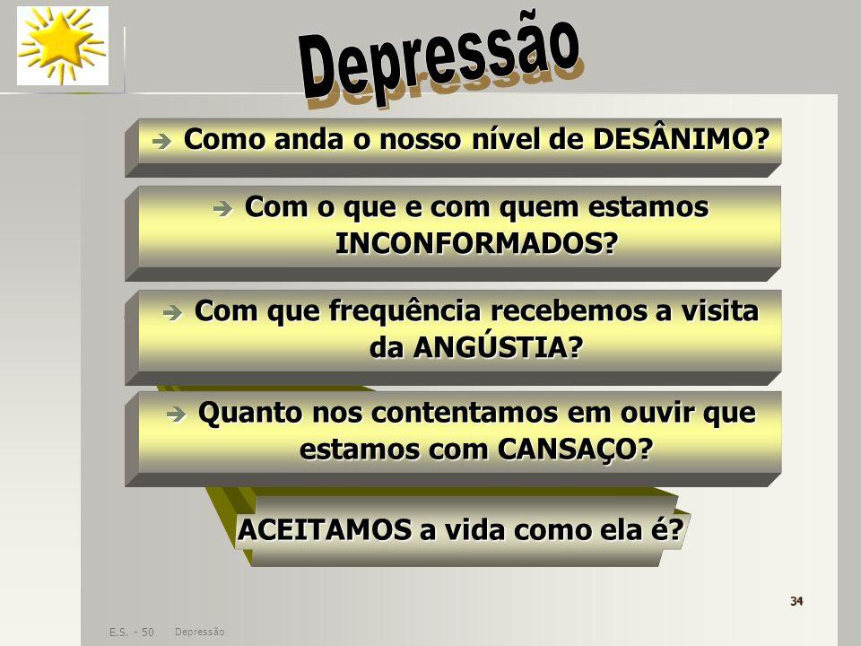 Depressão Como anda o nosso nível de DESÂNIMO