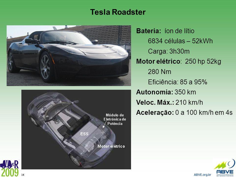 Tesla Roadster Bateria: íon de lítio 6834 células – 52kWh Carga: 3h30m