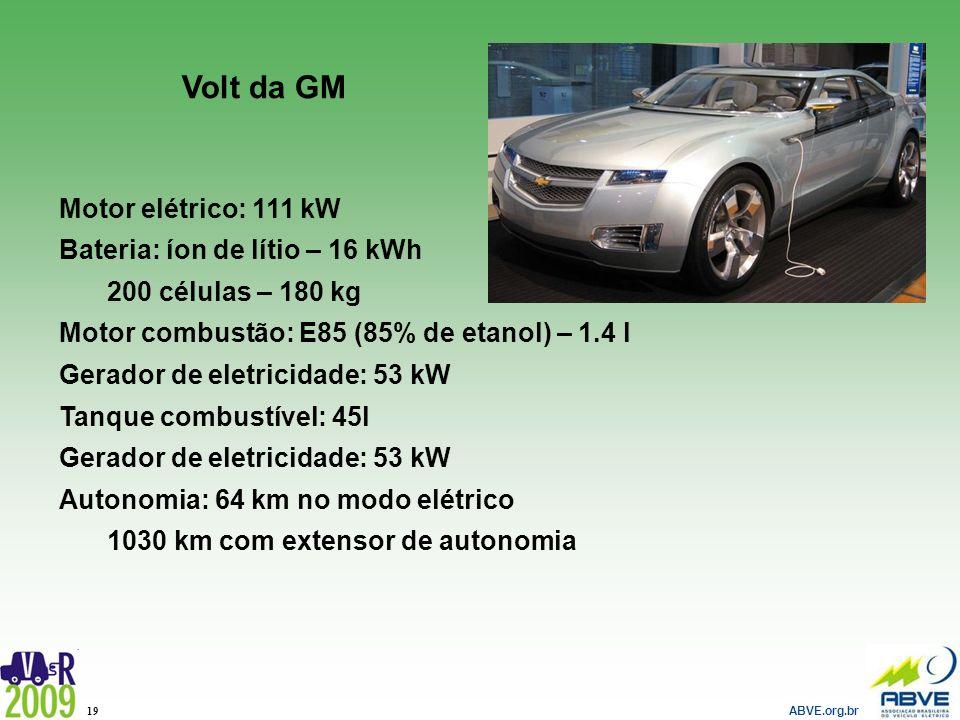 Volt da GM Motor elétrico: 111 kW Bateria: íon de lítio – 16 kWh