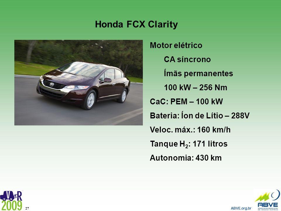 Honda FCX Clarity Motor elétrico CA síncrono Ímãs permanentes