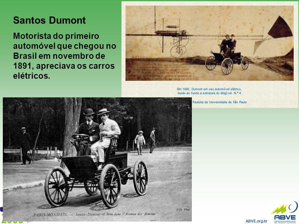 Santos Dumont Motorista do primeiro automóvel que chegou no Brasil em novembro de 1891, apreciava os carros elétricos.