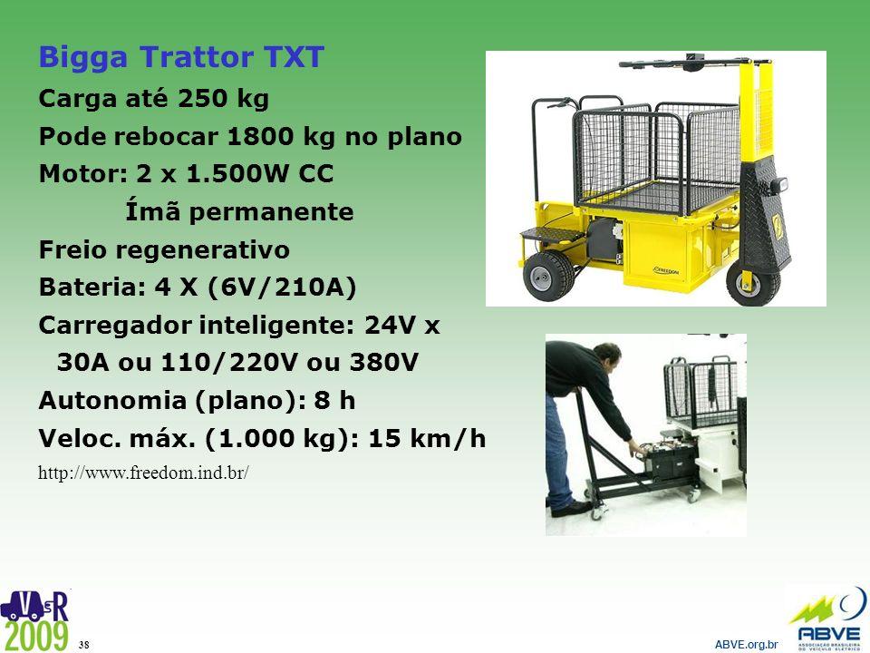 Bigga Trattor TXT Carga até 250 kg Pode rebocar 1800 kg no plano