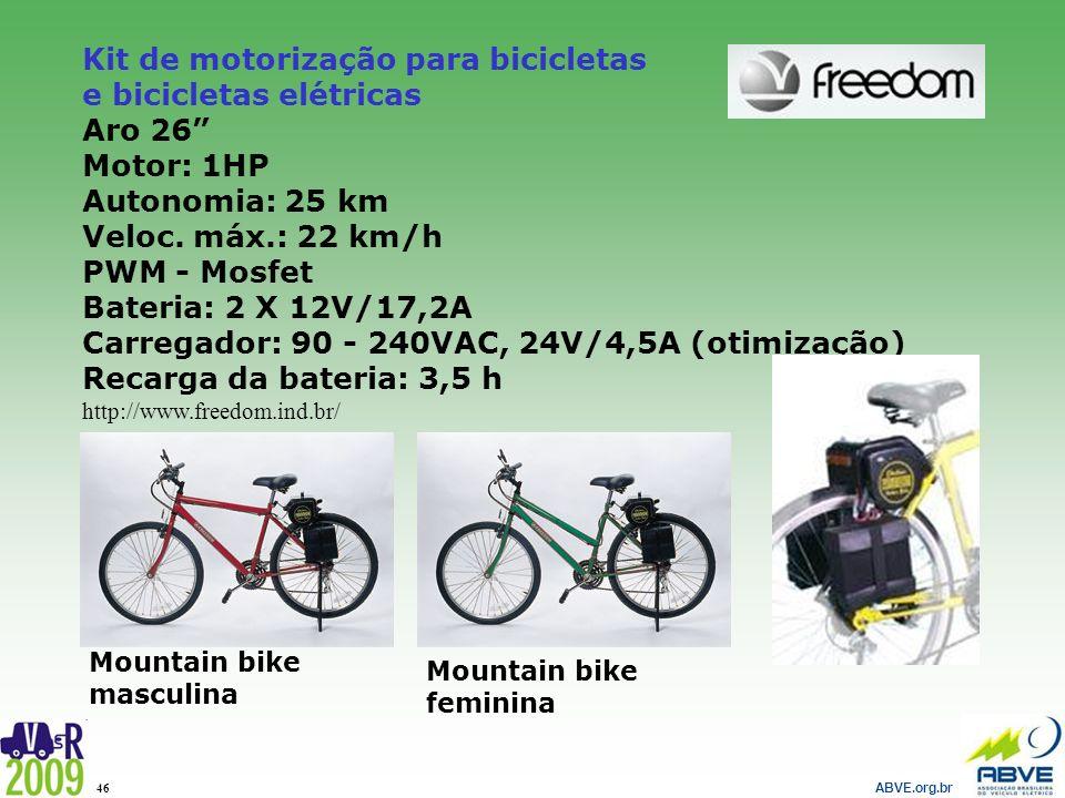 Kit de motorização para bicicletas e bicicletas elétricas Aro 26