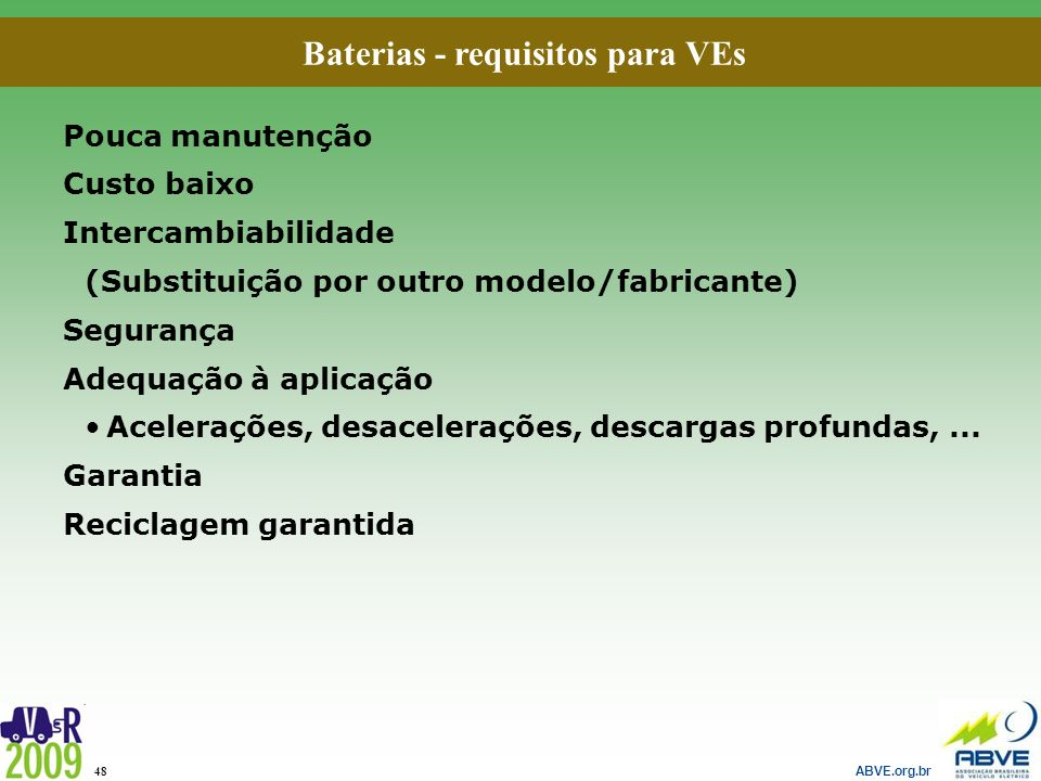 Baterias - requisitos para VEs