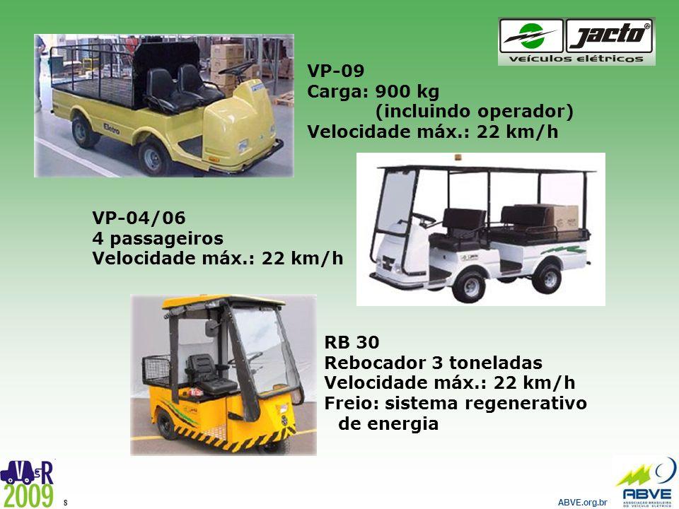 VP-09 Carga: 900 kg. (incluindo operador) Velocidade máx.: 22 km/h. VP-04/06. 4 passageiros. Velocidade máx.: 22 km/h.