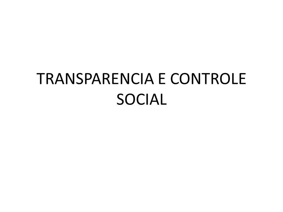 TRANSPARENCIA E CONTROLE SOCIAL