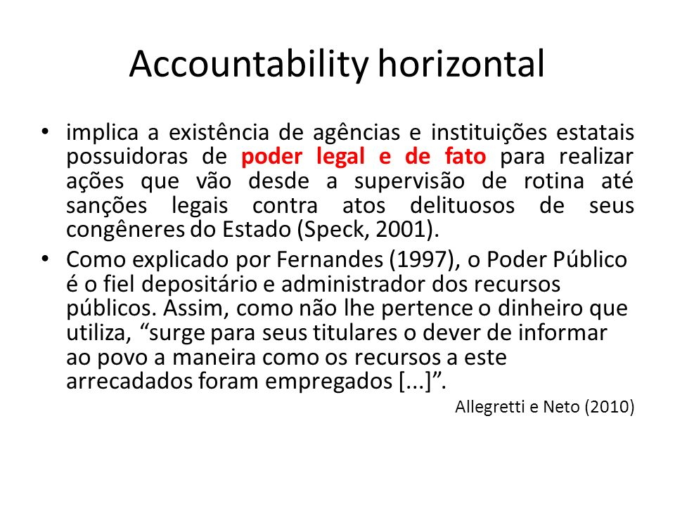 Accountability horizontal