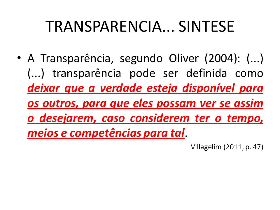 TRANSPARENCIA... SINTESE