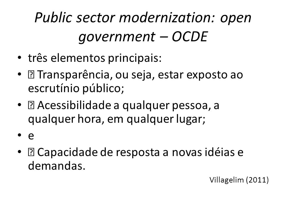 Public sector modernization: open government – OCDE