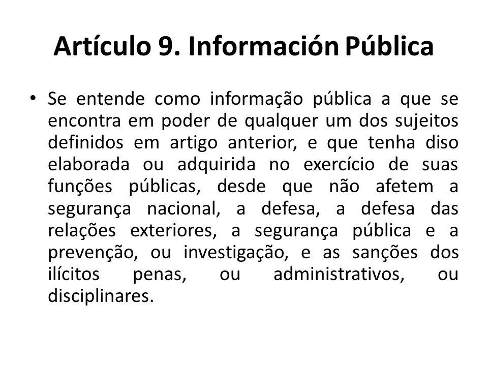 Artículo 9. Información Pública