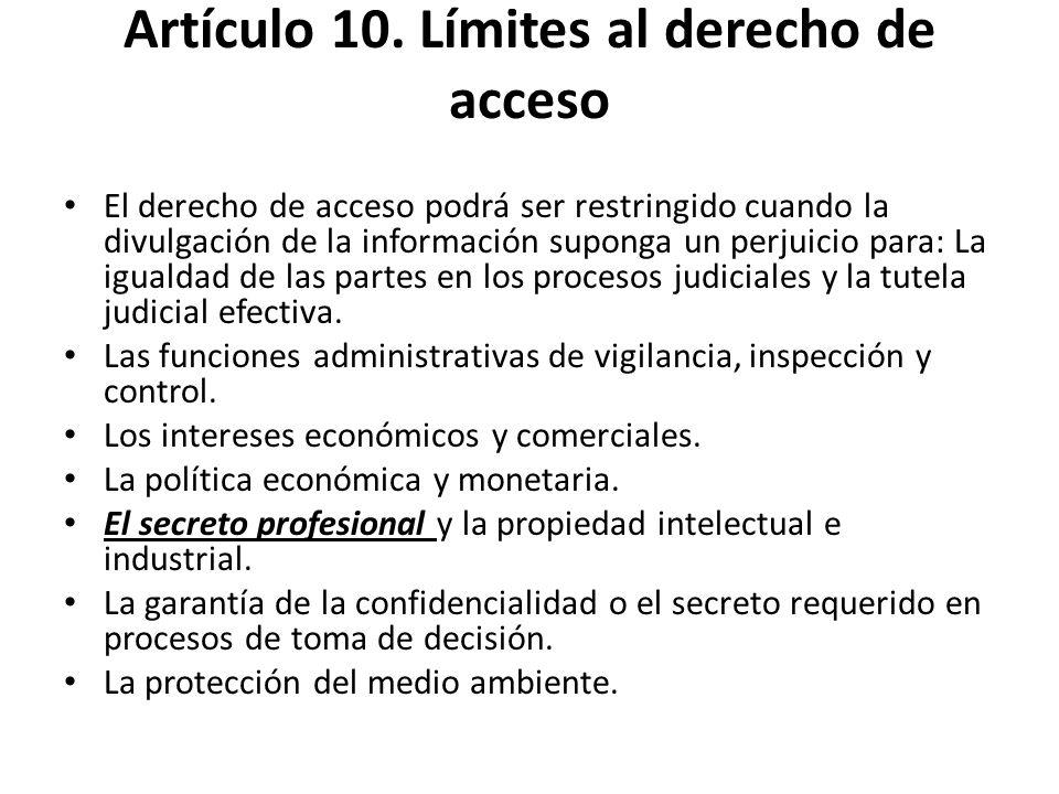 Artículo 10. Límites al derecho de acceso