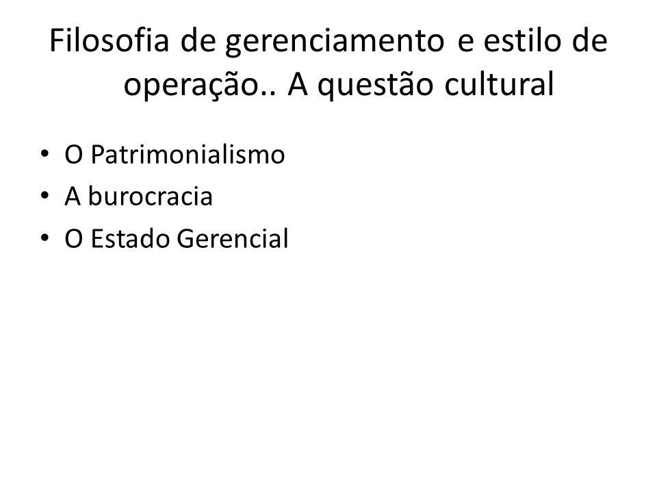 Filosofia de gerenciamento e estilo de operação.. A questão cultural