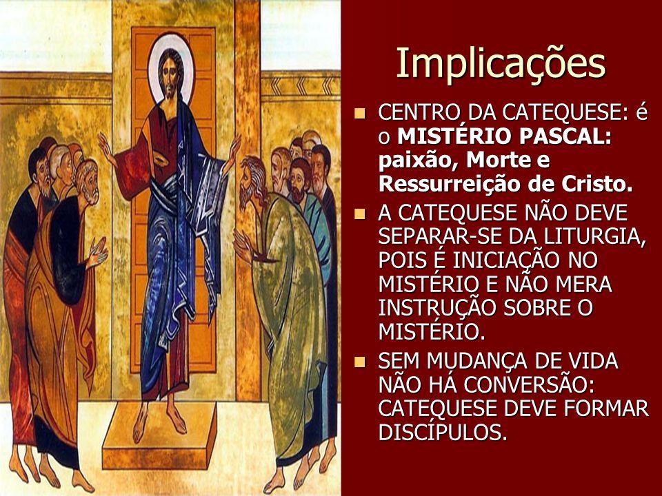 Implicações CENTRO DA CATEQUESE: é o MISTÉRIO PASCAL: paixão, Morte e Ressurreição de Cristo.