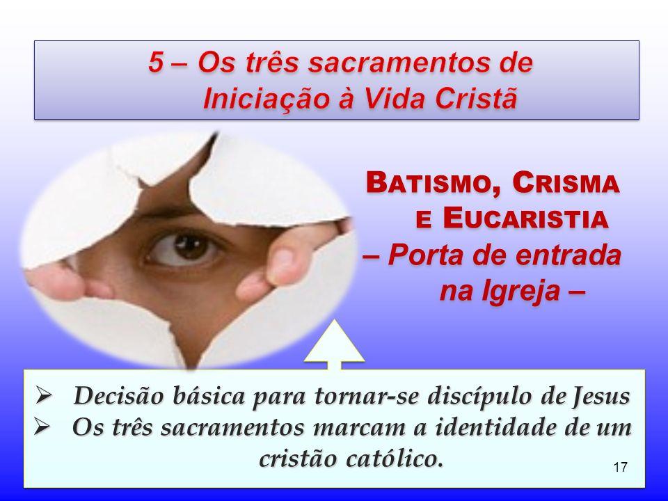 5 – Os três sacramentos de Iniciação à Vida Cristã