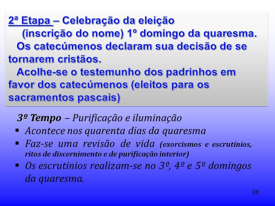 2ª Etapa – Celebração da eleição (inscrição do nome) 1º domingo da quaresma.