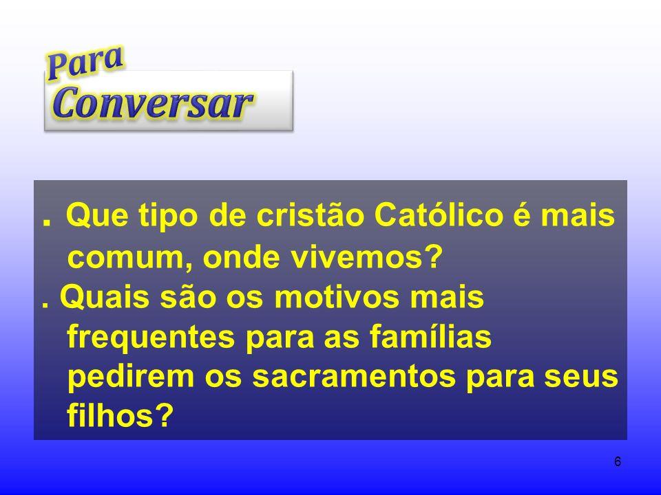 . Que tipo de cristão Católico é mais comum, onde vivemos