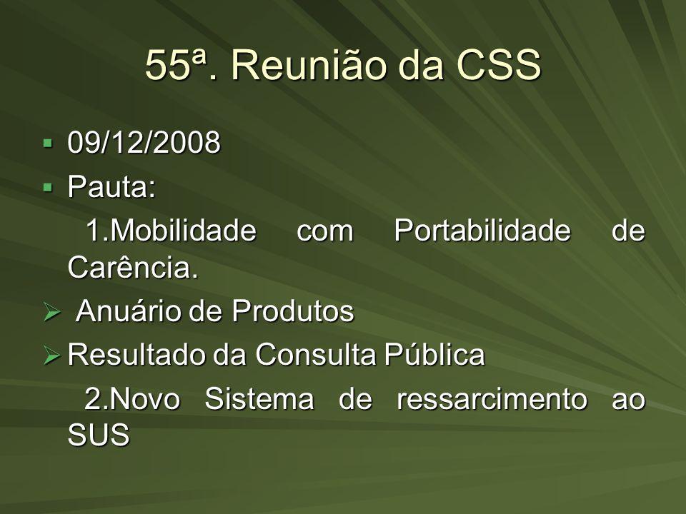 55ª. Reunião da CSS 09/12/2008 Pauta: