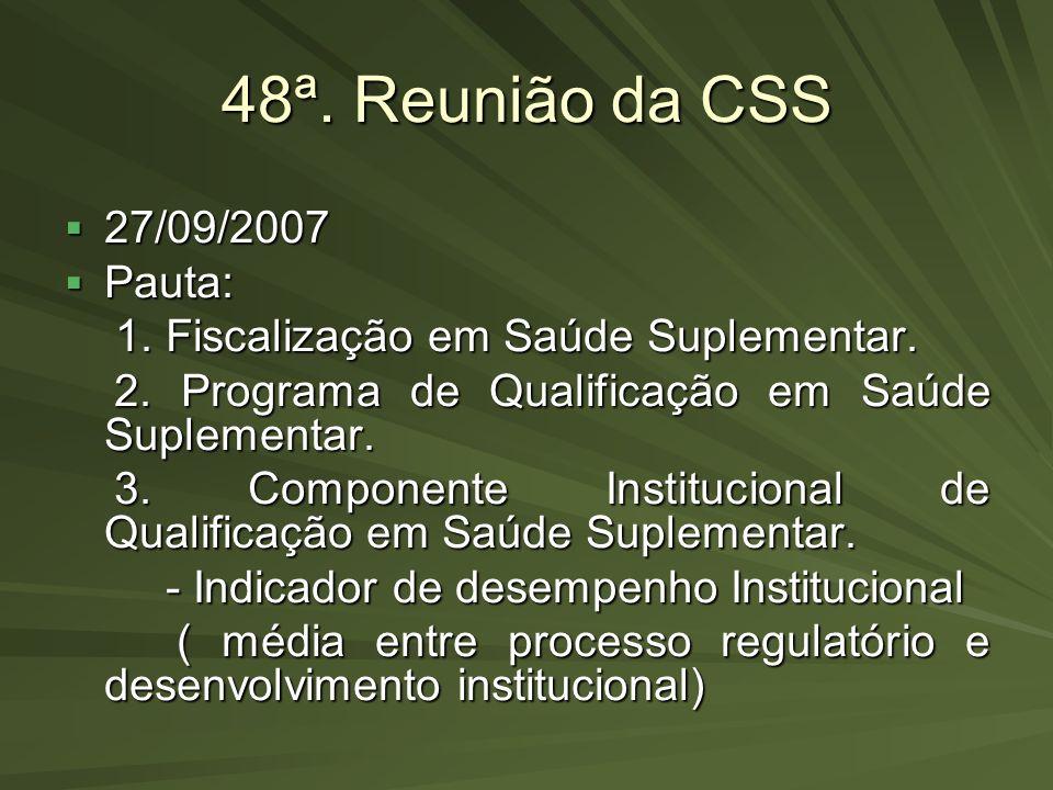 48ª. Reunião da CSS 27/09/2007 Pauta: