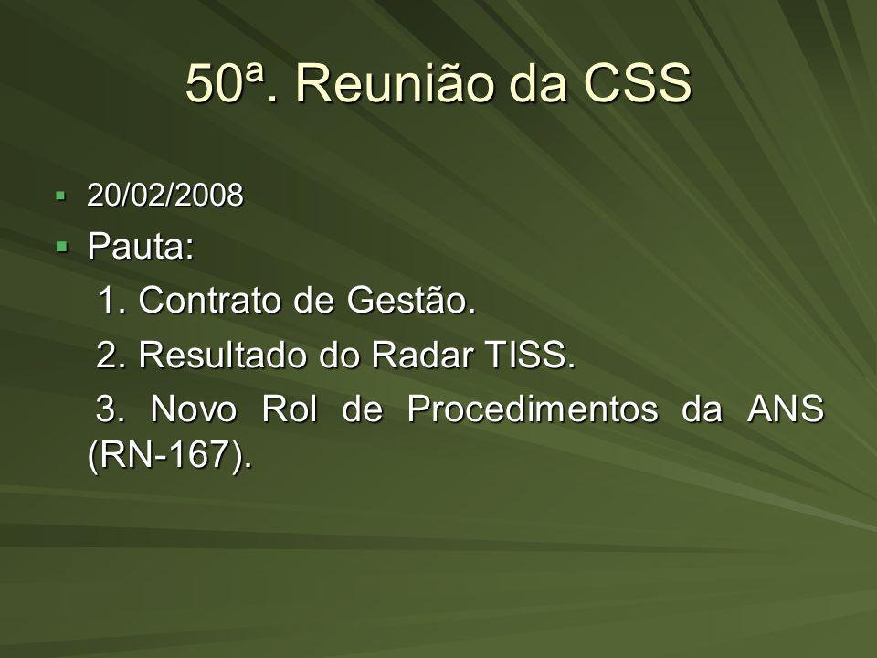 50ª. Reunião da CSS Pauta: 1. Contrato de Gestão.