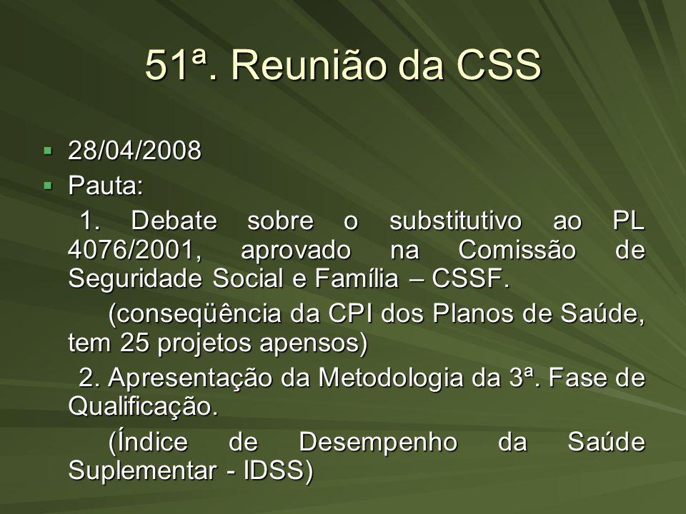 51ª. Reunião da CSS 28/04/2008 Pauta: