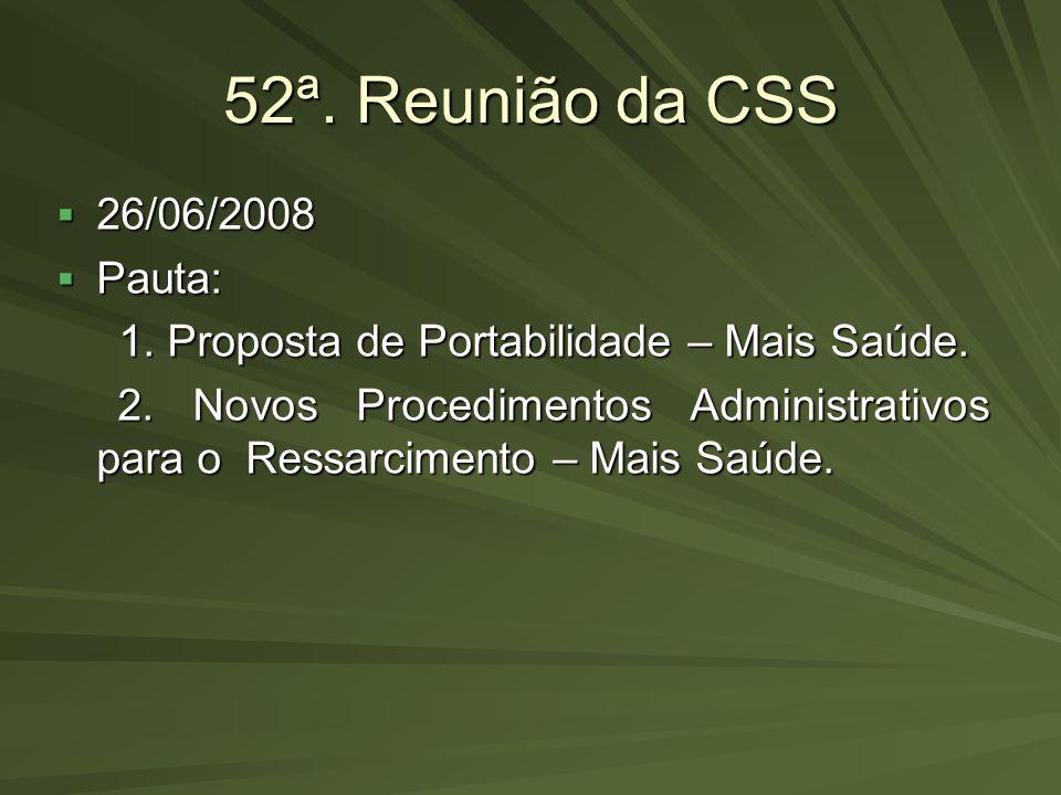 52ª. Reunião da CSS 26/06/2008 Pauta: