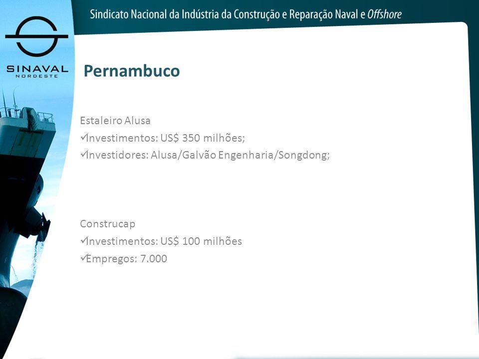 Pernambuco Estaleiro Alusa Investimentos: US$ 350 milhões;