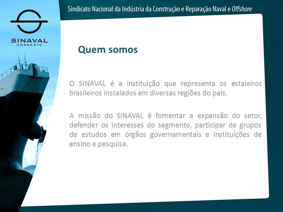 Quem somos O SINAVAL é a instituição que representa os estaleiros brasileiros instalados em diversas regiões do país.