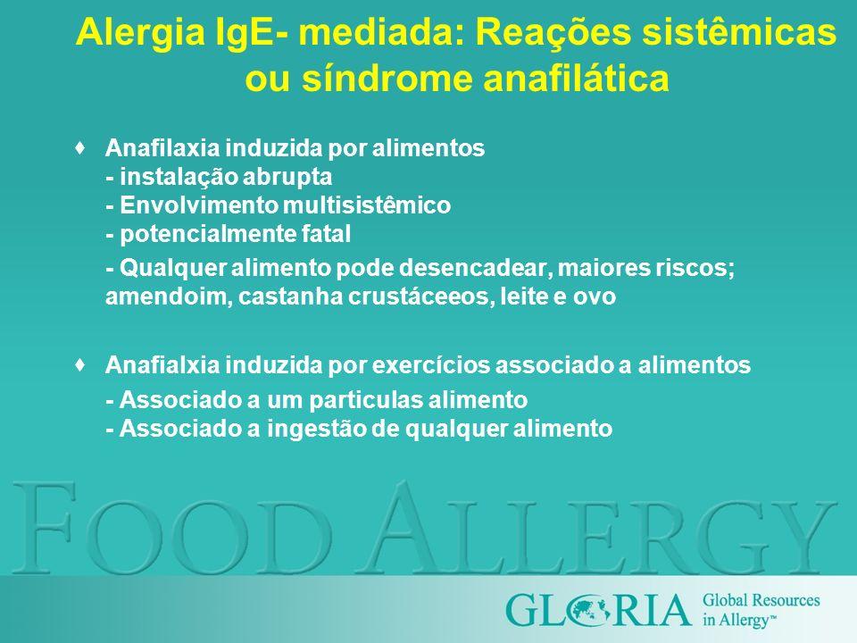 Alergia IgE- mediada: Reações sistêmicas ou síndrome anafilática