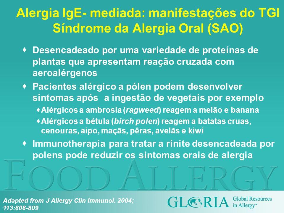 Alergia IgE- mediada: manifestações do TGI Síndrome da Alergia Oral (SAO)