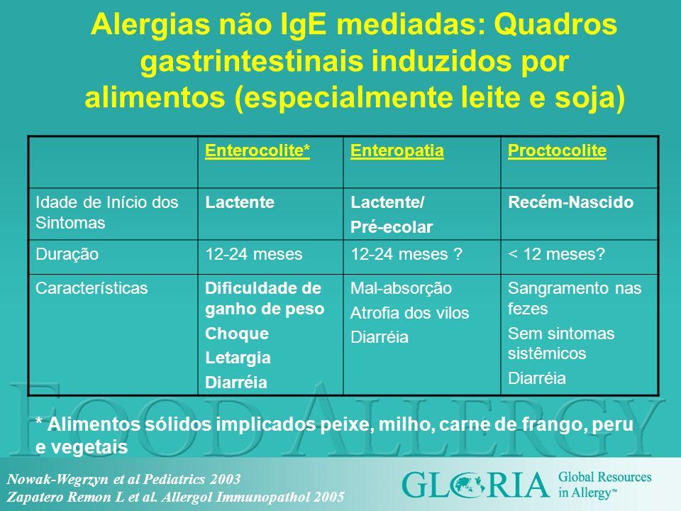 Alergias não IgE mediadas: Quadros gastrintestinais induzidos por alimentos (especialmente leite e soja)