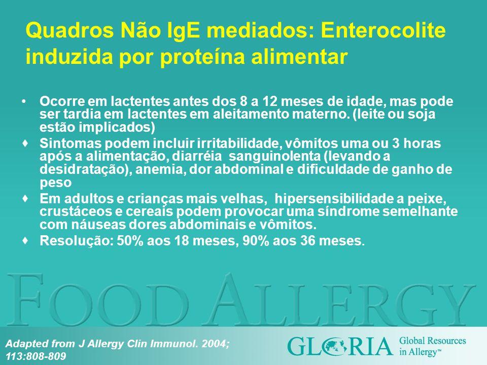 Quadros Não IgE mediados: Enterocolite induzida por proteína alimentar